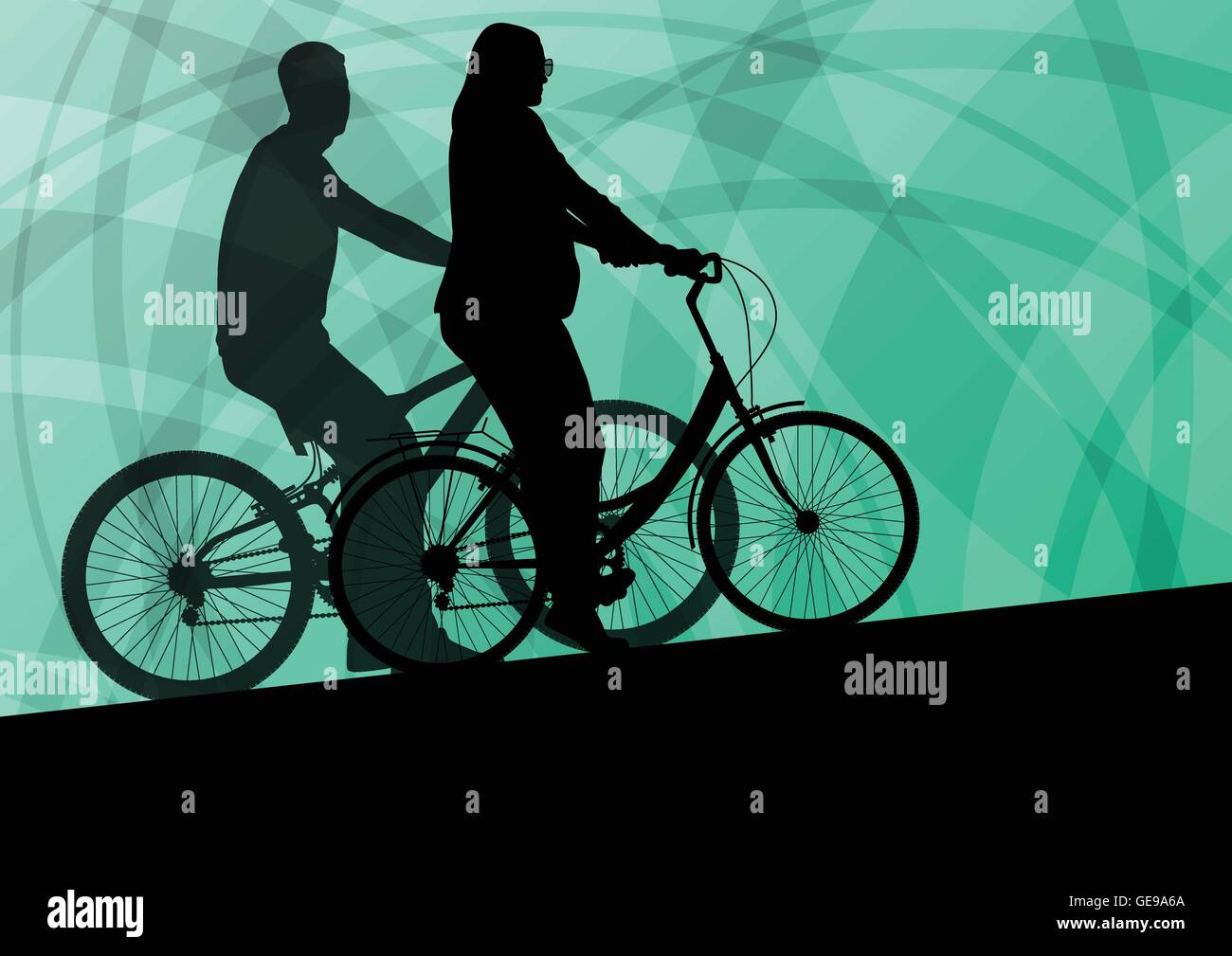 Active young family cyclists bicycle riders active sport silhouettes vector background - Stock Vector