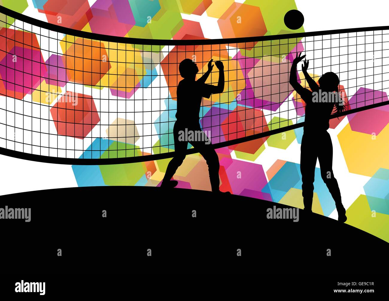 Volleyball Player Silhouettes In Sport Abstract Vector