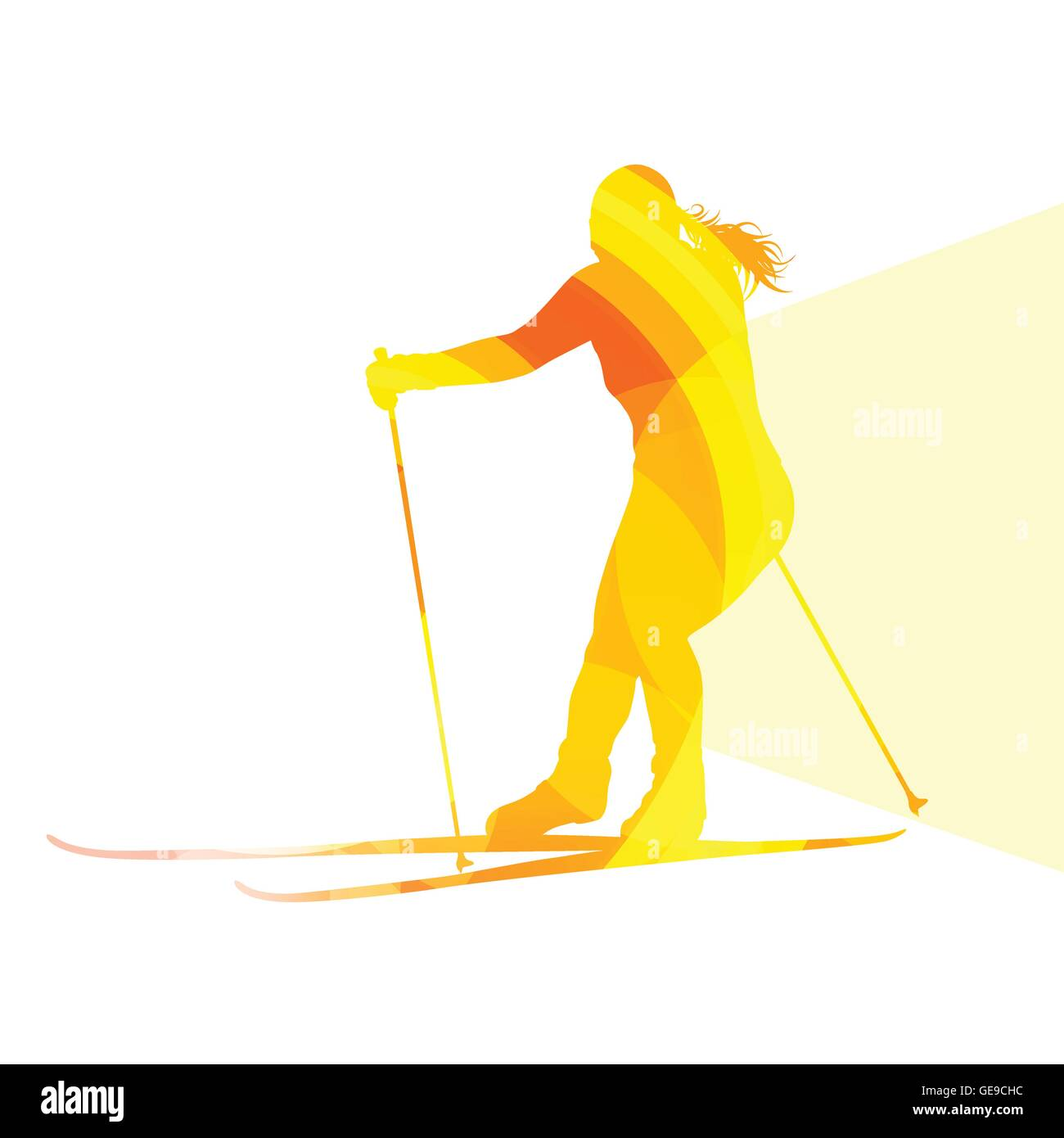 Woman on ski silhouette illustration vector background colorful concept made of transparent curved shapes - Stock Vector