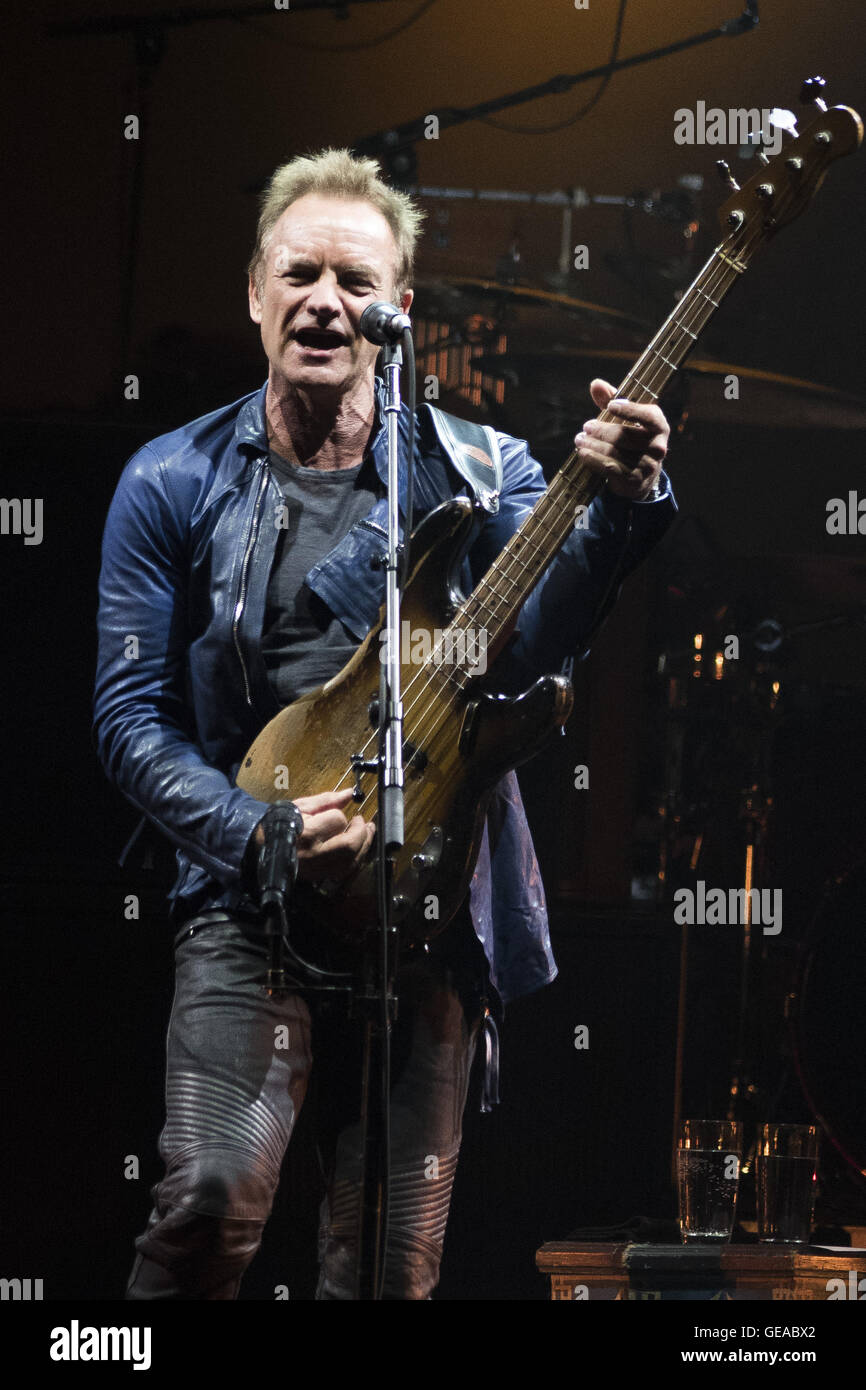 Calgary, AB, CAN. 23rd July, 2016. STING performs in Calgary with PETER GABRIEL during their Rock Paper Scissors Stock Photo