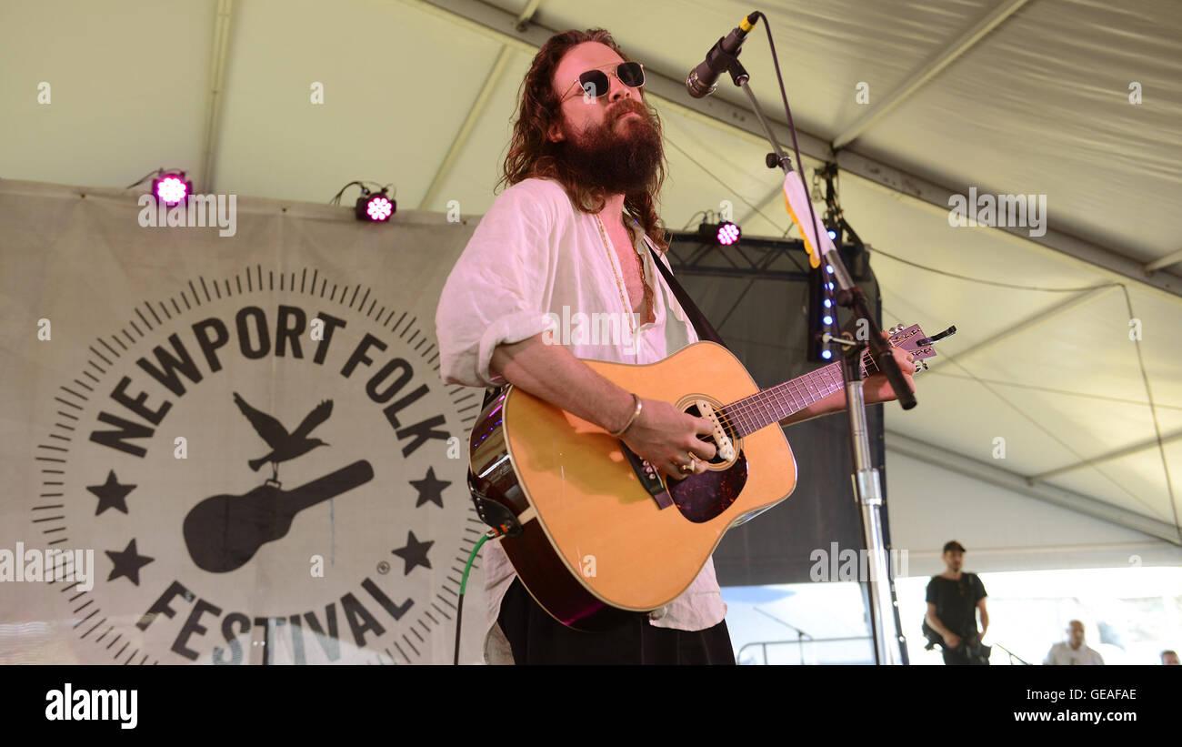 Newport, RI, USA. 24th July, 2016. Father John Misty performs at The 2016 Newport Folk Festival. Newport, RI. 7/24/16. - Stock Image