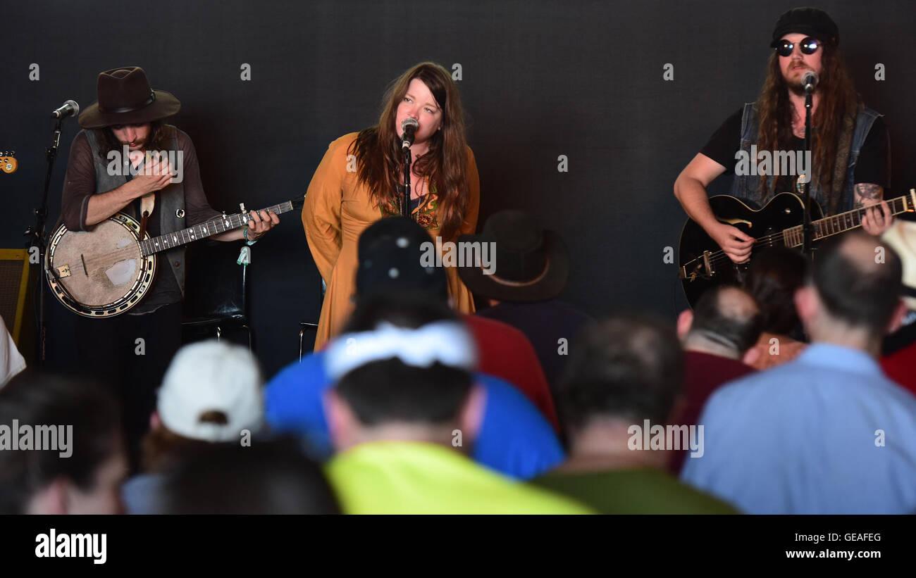 Newport, RI, USA. 24th July, 2016. Folk artist Banditos perform at the 2016 Newport Folk Festival. Newport, RI. - Stock Image
