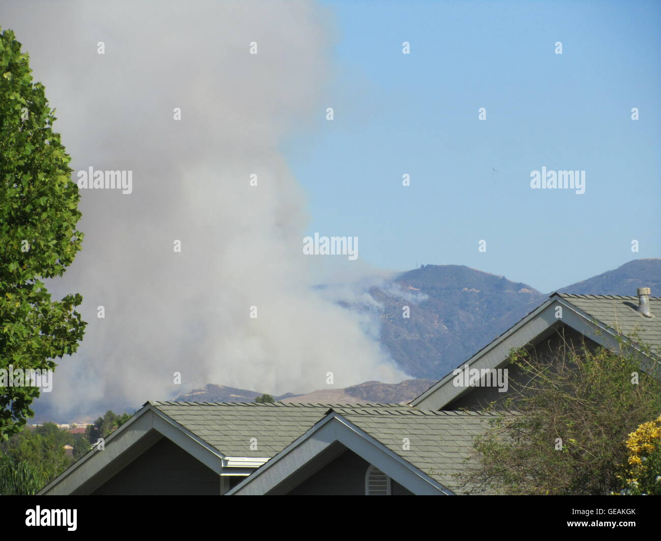 Los Angeles, USA  24th July, 2016  The Sand Fire burns in