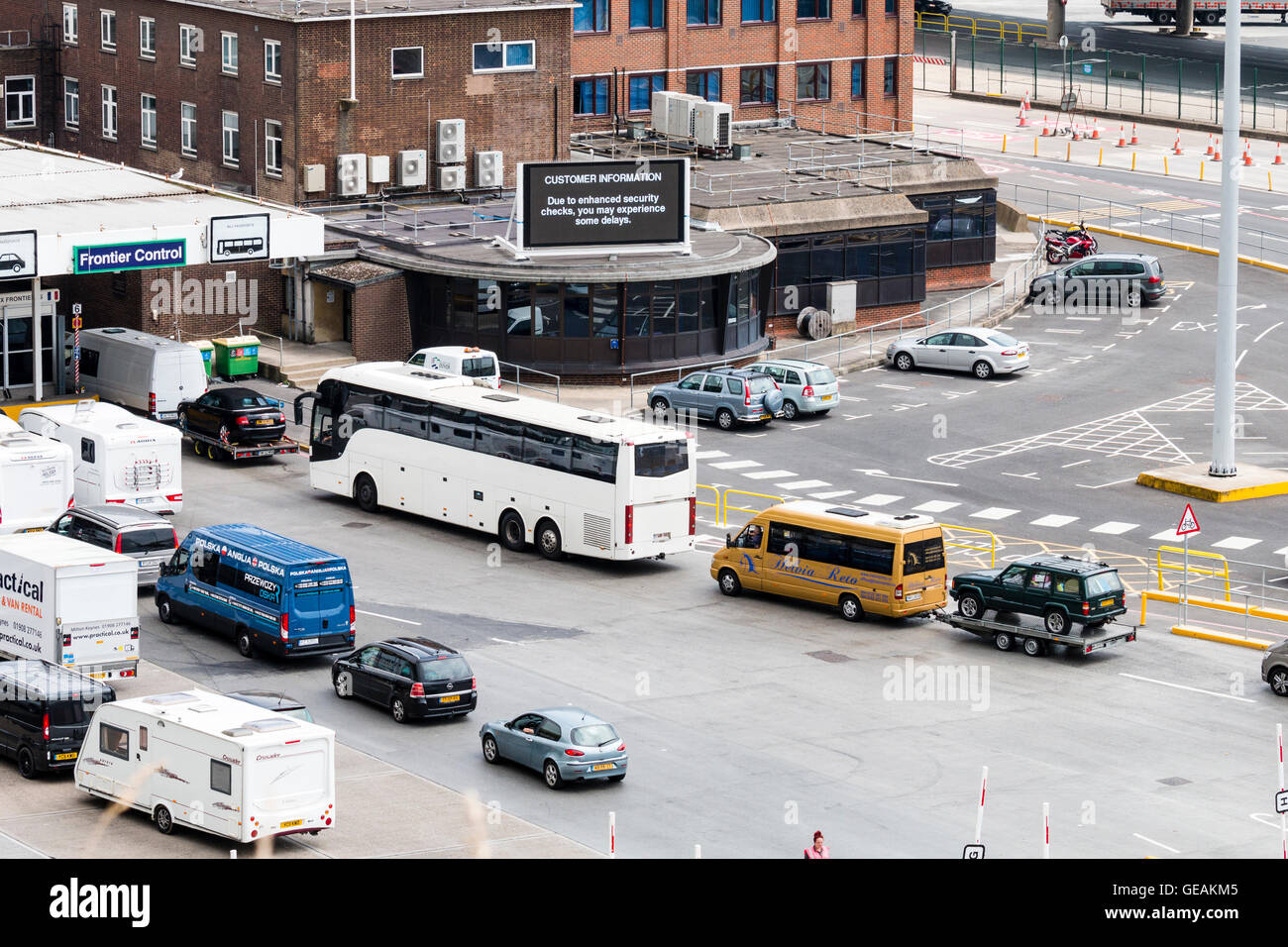 * hour delays at Dover port during weekend of 23-24th July 2016. Video display screen by vehicles going through - Stock Image