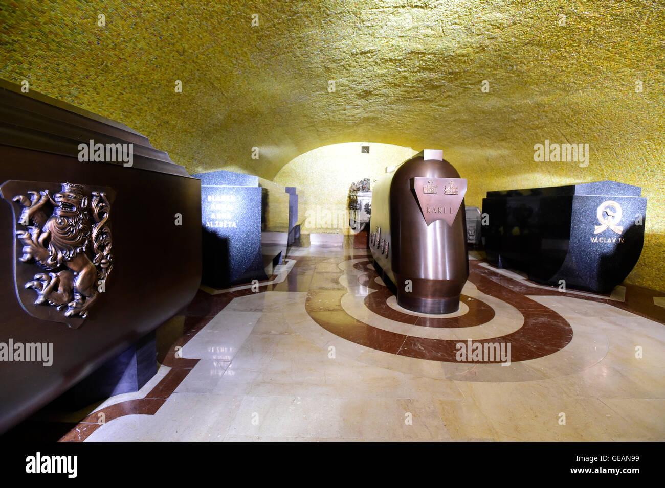 The royal burial chamber in the underground area of the St Vitus Cathedral at Prague Castle, Prague, Czech Republic, - Stock Image