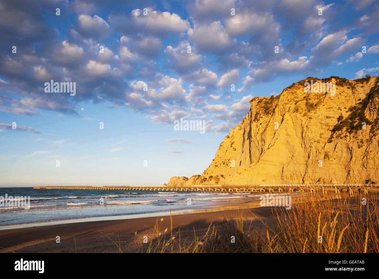 New Zealand, North Island, East Cape Region, Tolaga Bay, historic Tologa Bay Wharf, South Pacific, area of Cook's - Stock Image