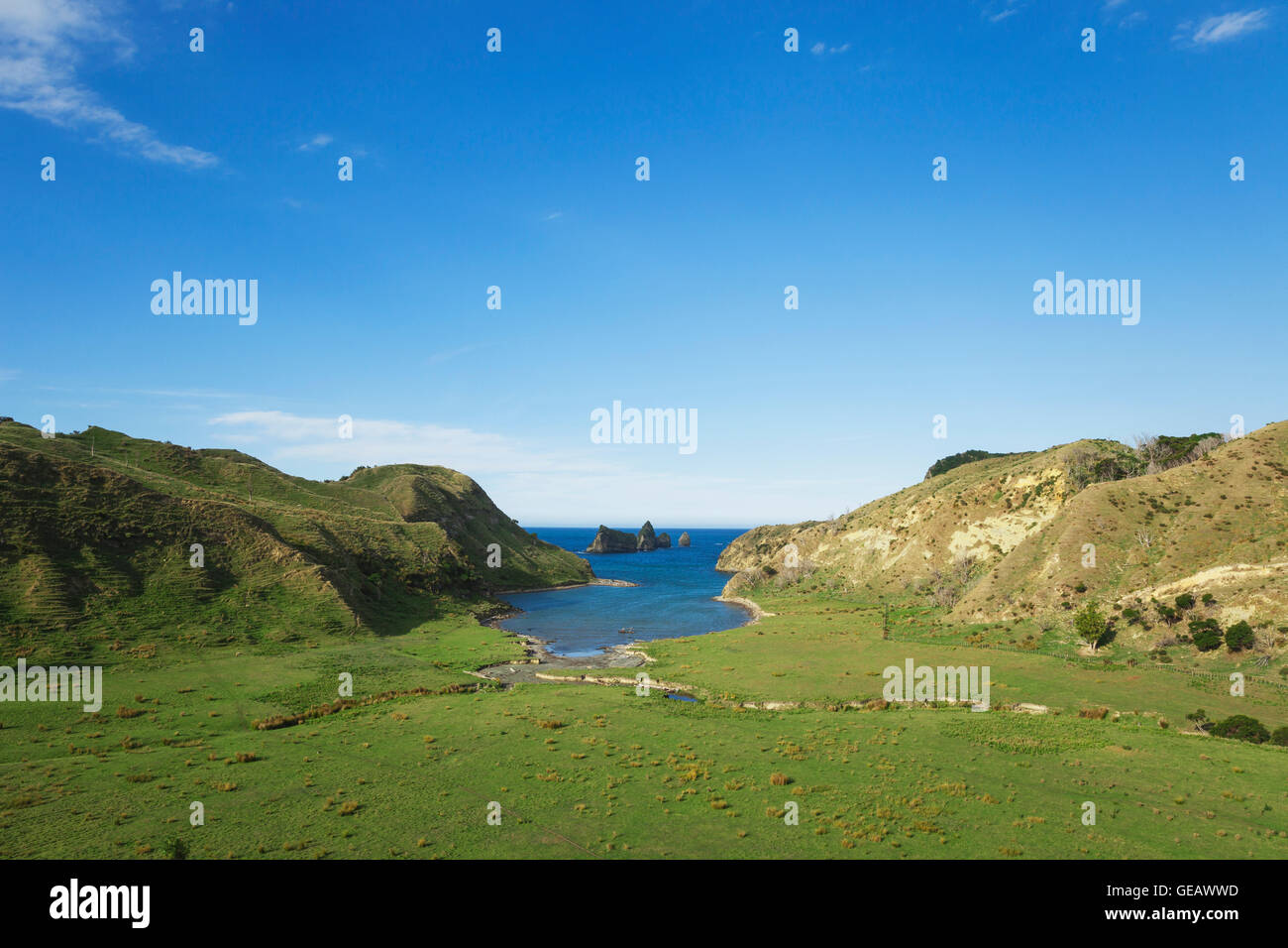 New Zealand, North Island, East Cape, Tolaga Bay area, Cook's Cove - Stock Image