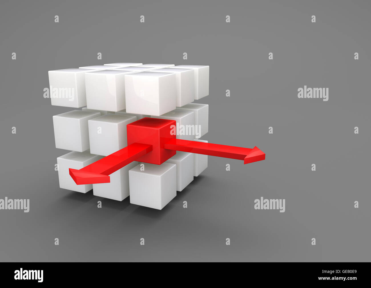 Outsourcing, porcelain cubes with red arrows on gray background, 3D Illustration - Stock Image