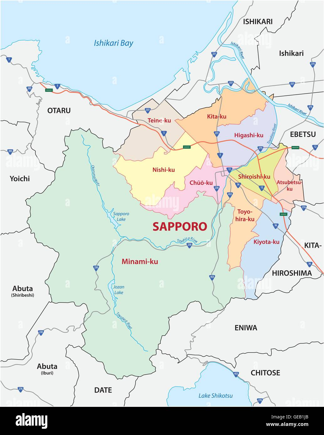 Road Administrative And Political Map Of The Japanese City Sapporo