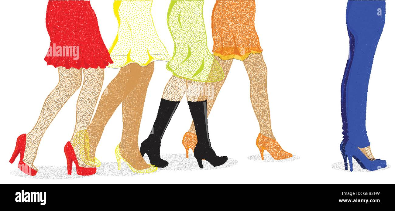 A collection of female legs walking towards the sale with one pair wearing jeans at the front ib dotted stipple - Stock Vector