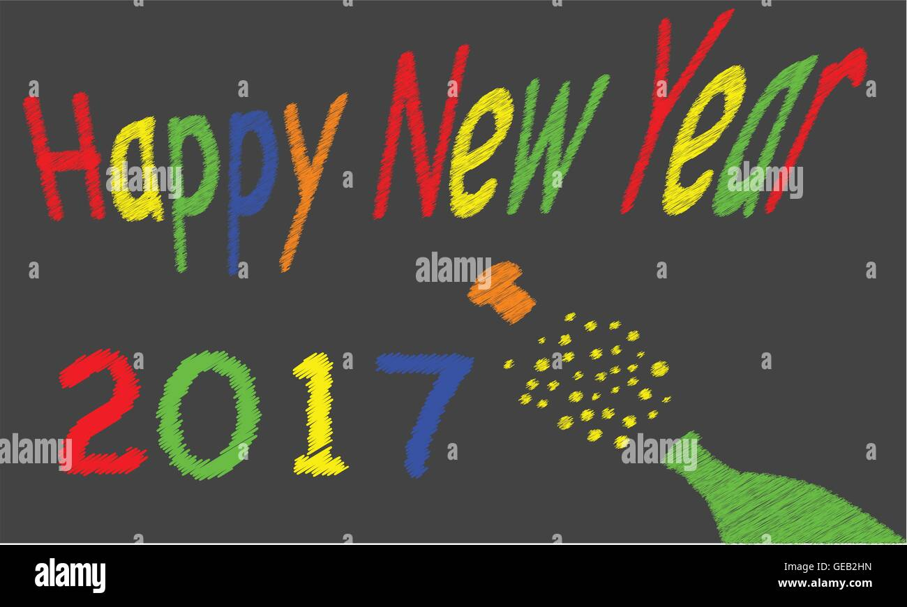 A worn out old blackboard with a happy new year message and a bursting bottle of bubbly - Stock Vector