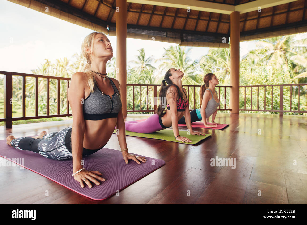Shot of young women doing cobra pose on exercise mat at yoga class. Three female doing core stretch on fitness mat. - Stock Image