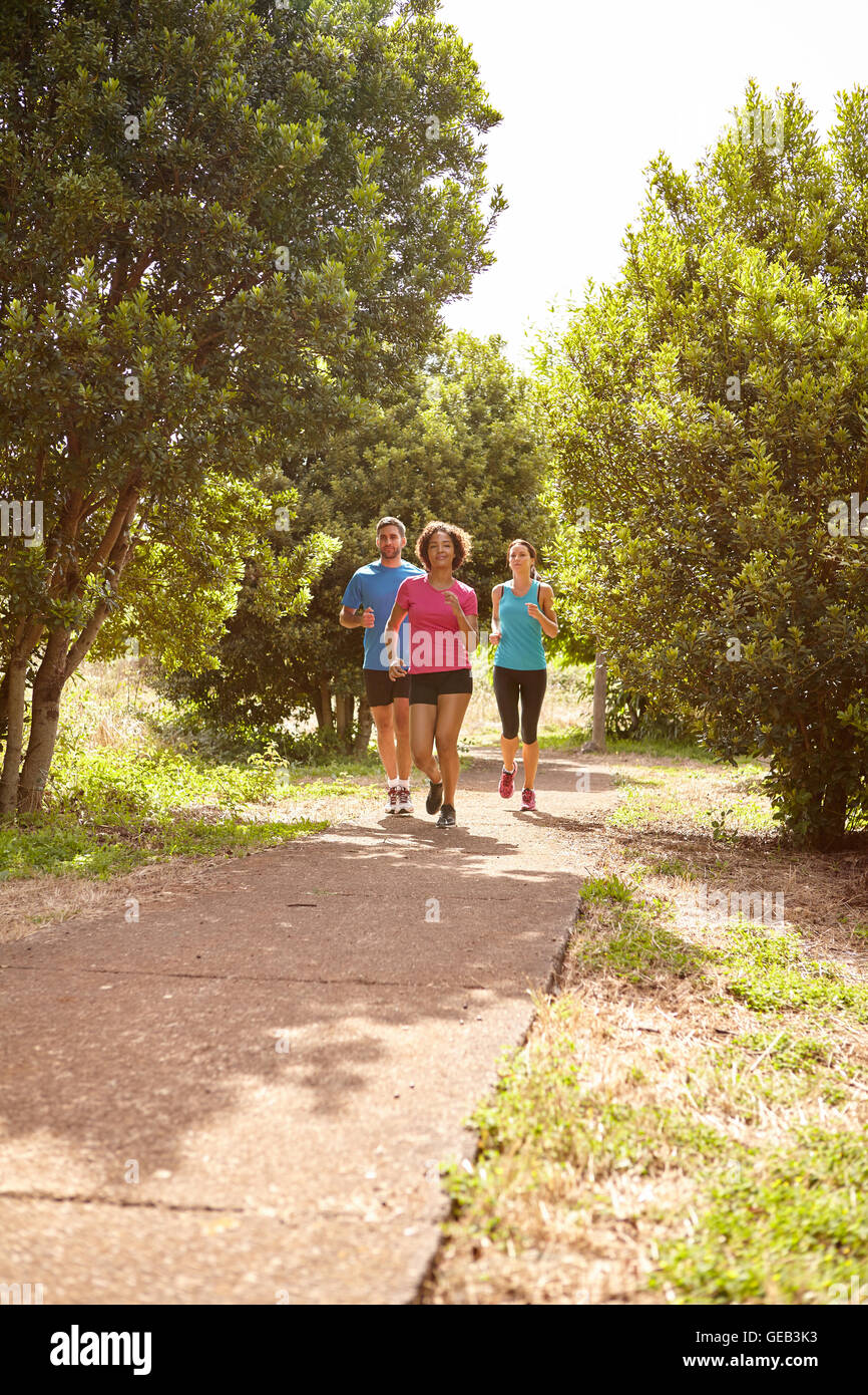 Three runners on a paved jogging trail in daylight surrounded by trees and bushes in the late morning wearing t - Stock Image