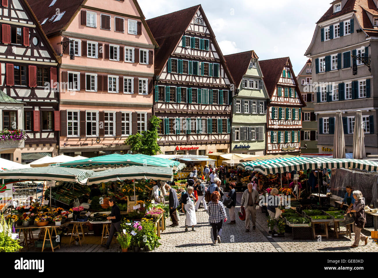 Fresh weekly farmers market on the historic market place, in the old town of Tübingen, Germany Stock Photo