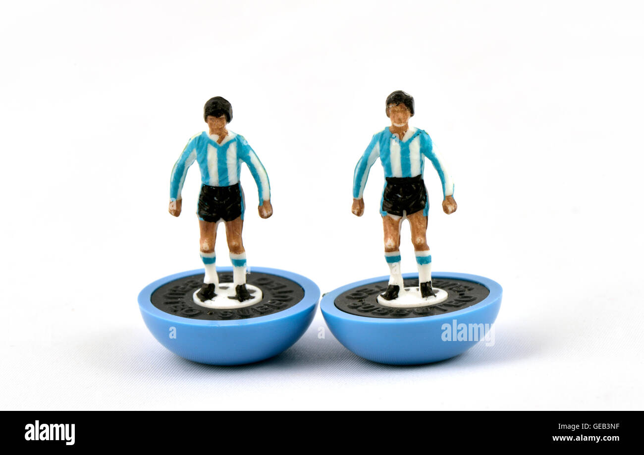 Two subbuteo football game players in Argentina kit - Stock Image