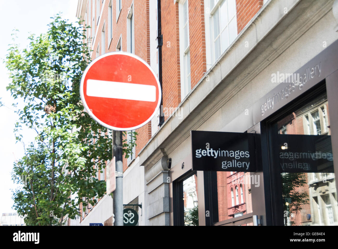 A no entry sign outside the Getty Images Gallery on Eastcastle Street in London's West End. - Stock Image