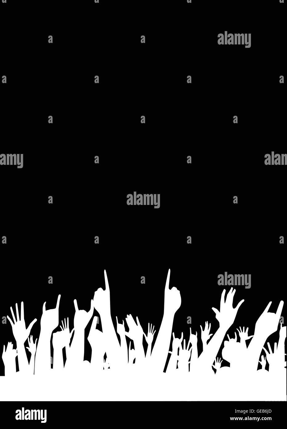 Hands raised in the air at a concert - Stock Vector