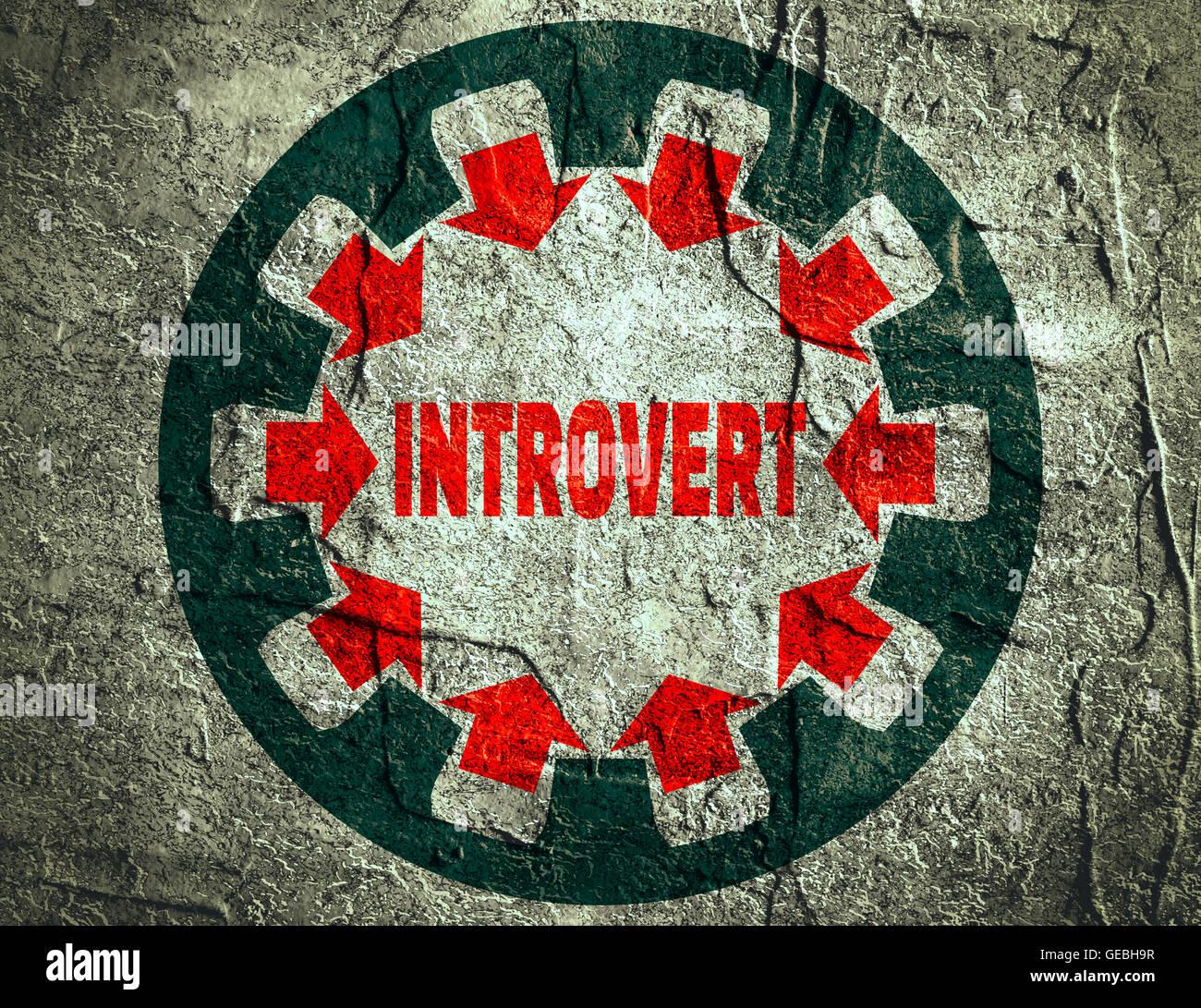 Introvert character. Psychlogy metaphor - Stock Image
