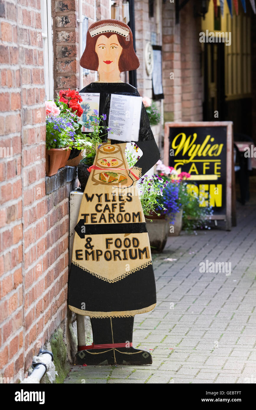 Decorative Sign and menu board for Wylie's Cafe and Tearoom, Warwick. - Stock Image