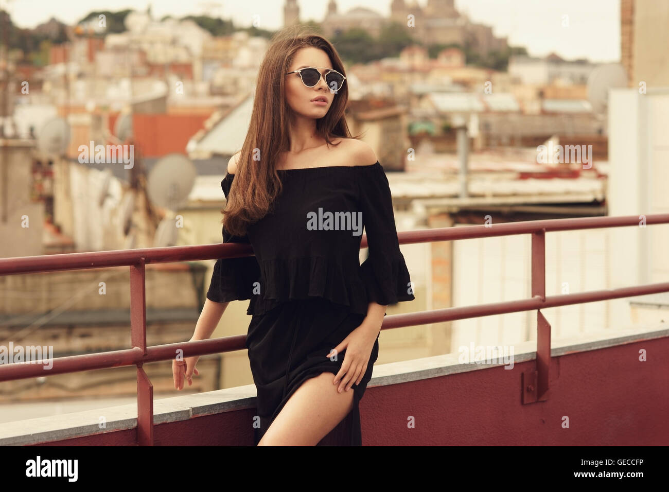 47f9a9813 Stylish girl in black clothes Stock Photo  112140666 - Alamy