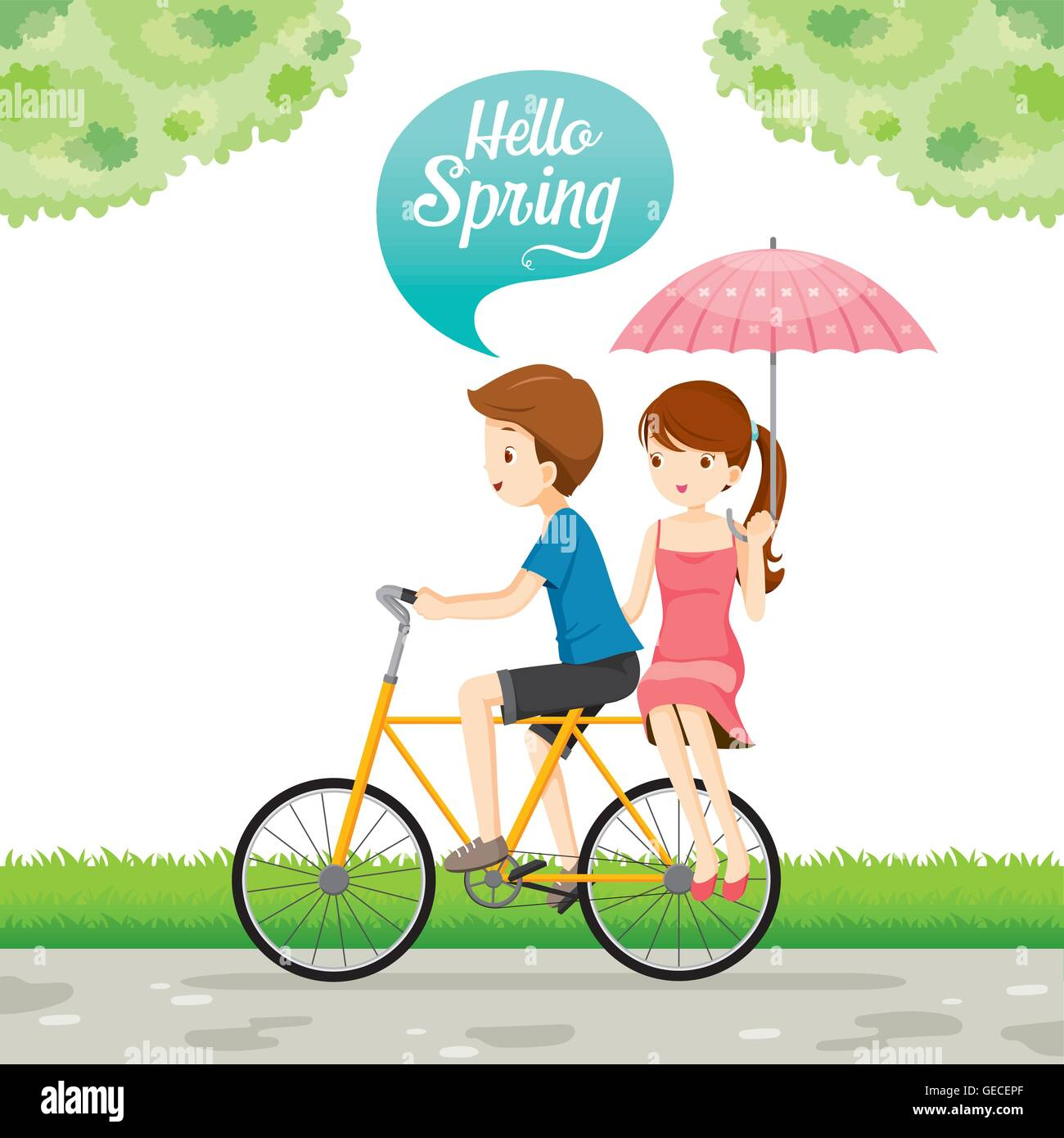 Man Riding Bicycle And Woman Sitting Behind, Spring Season, Lettering, Transportation, Vehicle, Exercise - Stock Vector