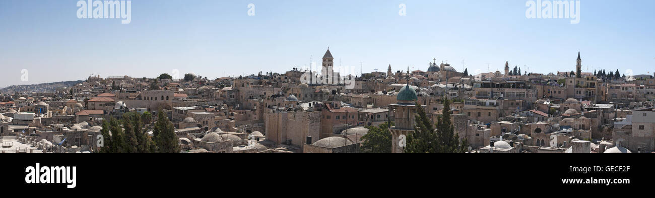 Jerusalem, Israel, Middle East: view and skyline of the Old City seen from the terrace of Austrian Hospice, a Christian - Stock Image