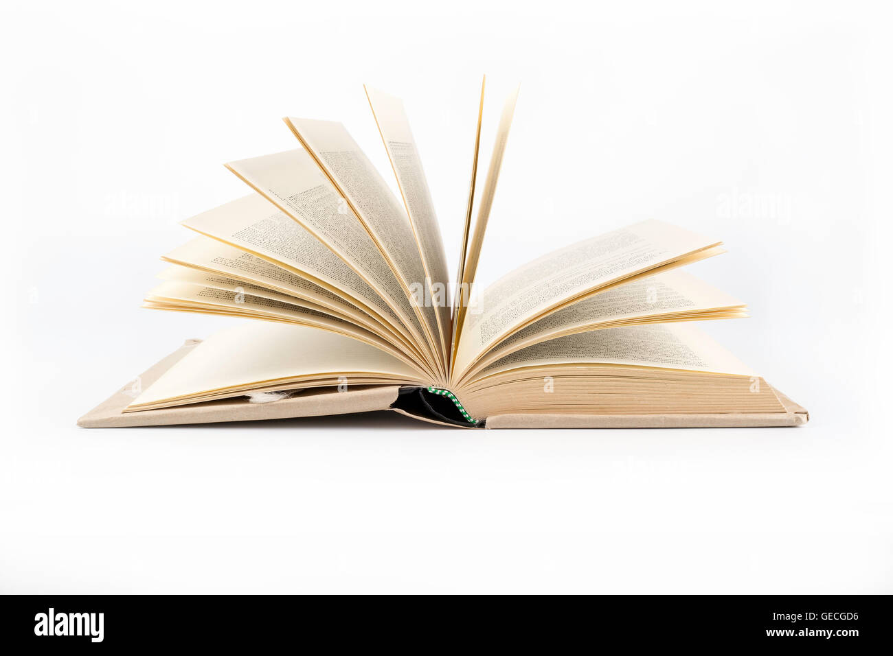 Open book on a white background - Stock Image