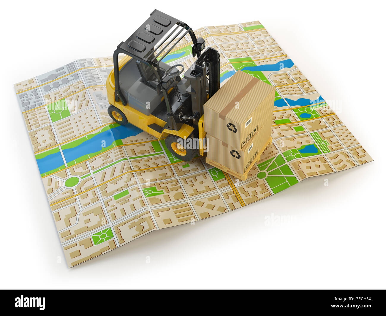 Forklift with cardboard boxes on the city map isolated on white.  Cargo delivery concept. 3d illustration - Stock Image