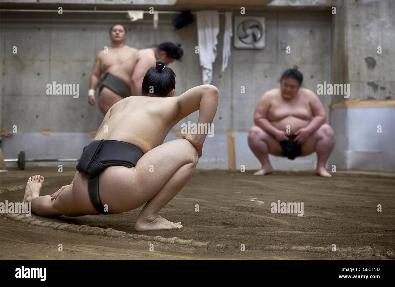 TOKYO, JAPAN - May 18, 2016: Japanese sumo wrestler training in their stall in Tokyo on May 18. 2016 - Stock Image