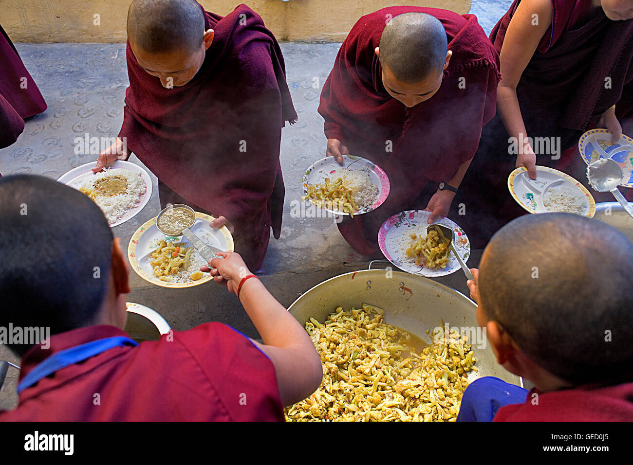 Nuns.Lunch.Geden Choeling Nunnery, McLeod Ganj, Dharamsala, Himachal Pradesh state, India, Asia - Stock Image