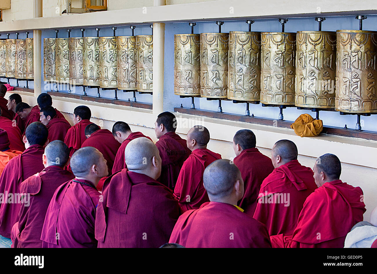 Monks at Namgyal Monastery,in Tsuglagkhang complex. McLeod Ganj, Dharamsala, Himachal Pradesh state, India, Asia - Stock Image