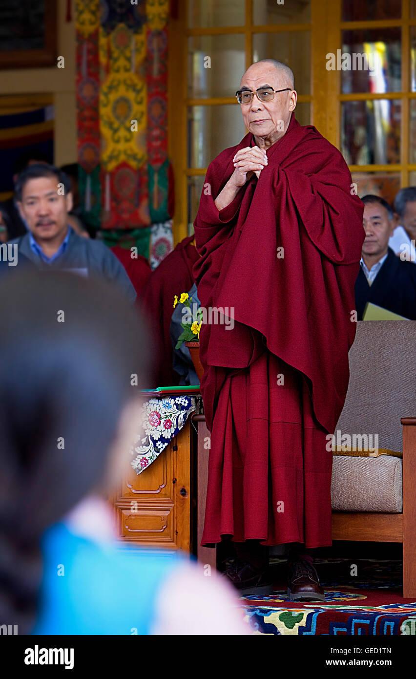 His holiness the Dalai Lama, in Namgyal Monastery,in Tsuglagkhang complex. McLeod Ganj, Dharamsala, Himachal Pradesh - Stock Image