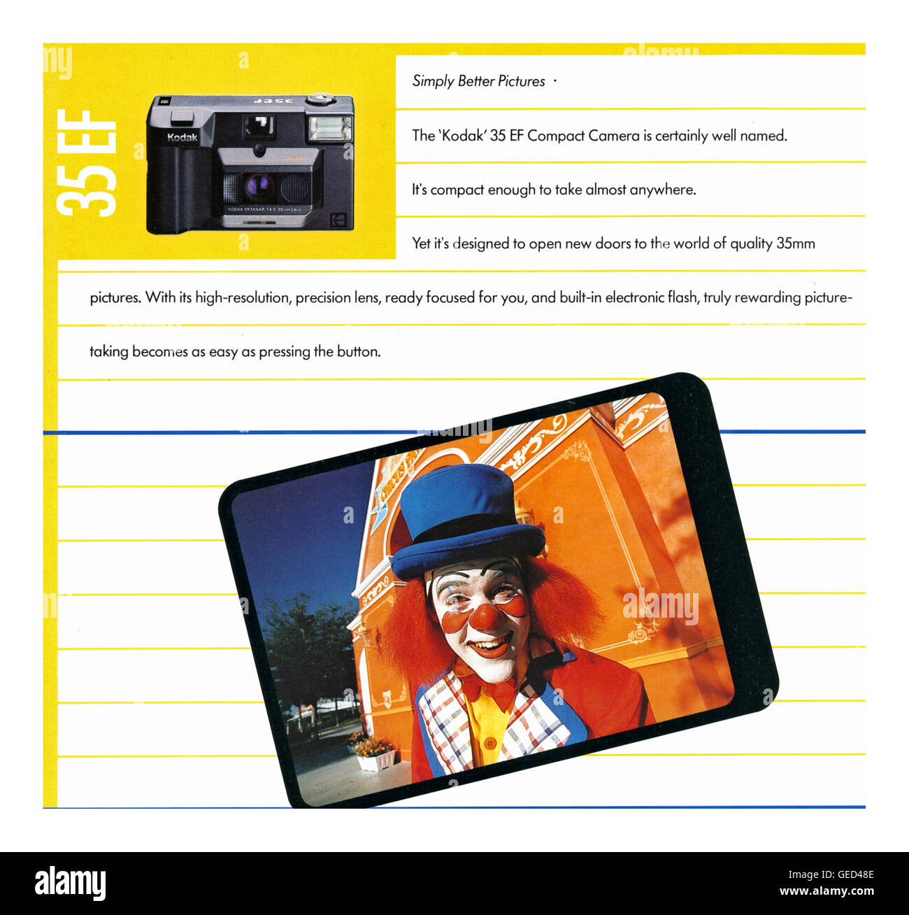 1985 promotional image featuring Kodak 35mm EF camera and colourful clown - Stock Image