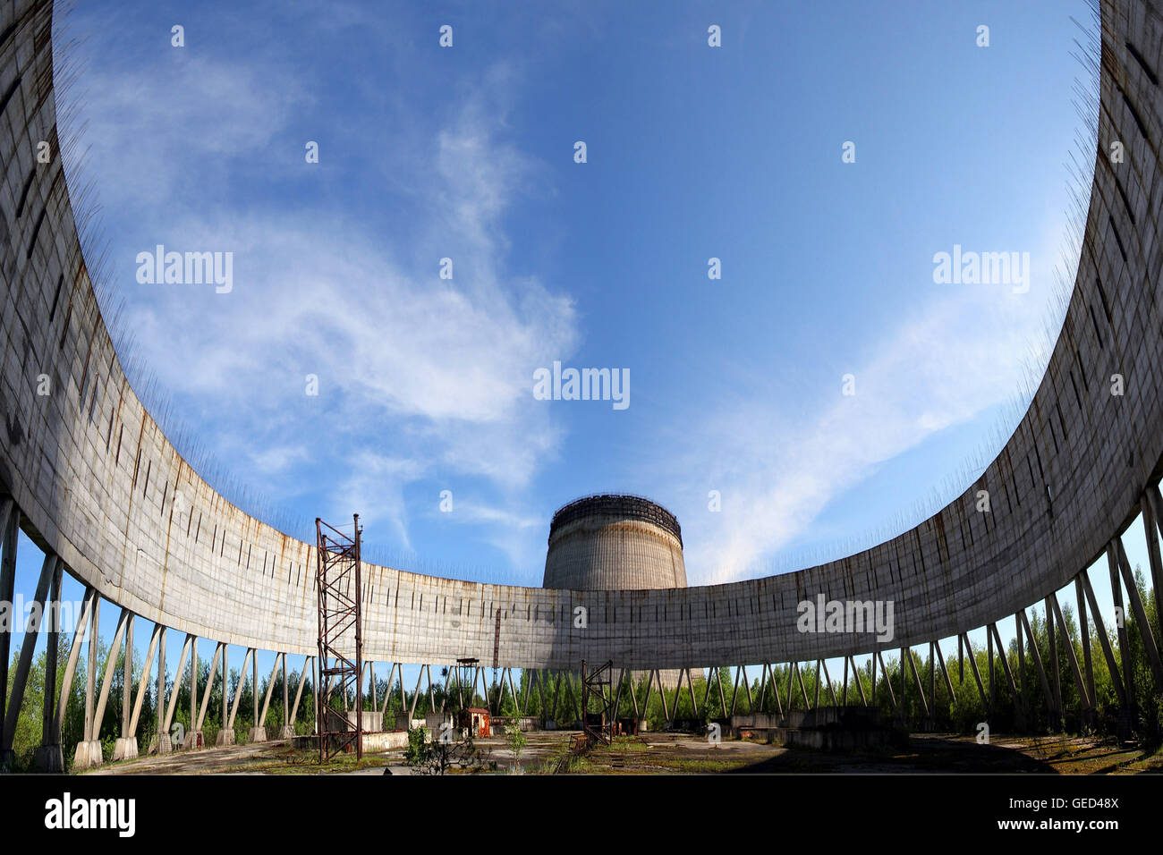 Cooling towers seen inside Chernobyl exclusion zone, Ukraine - Stock Image