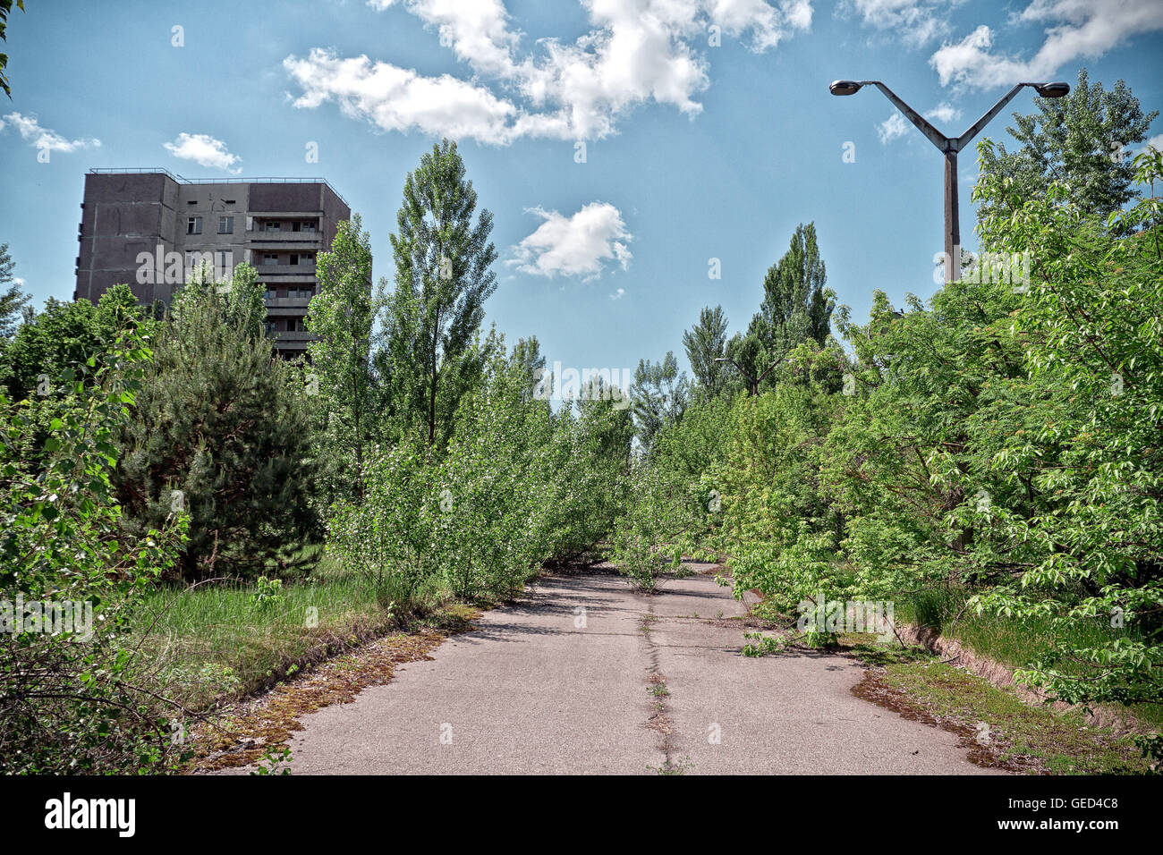 The abandoned town of Pripyat in the Chernobyl exclusion zone, Ukraine. - Stock Image