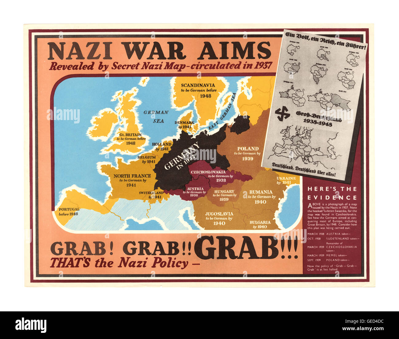 1939 WW2 UK Propaganda poster ' Nazi War Aims' showing proposed Nazi Party policy land 'grab grab grab' plan country - Stock Image