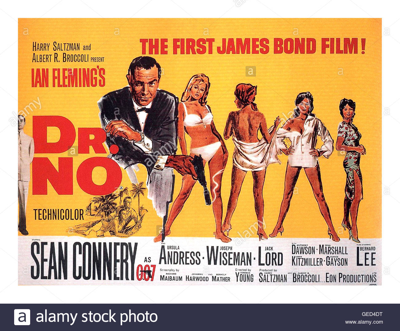 Dr. No is a 1962 British spy film, starring Sean Connery, with Ursula Andress and Joseph Wiseman, filmed in Jamaica - Stock Image