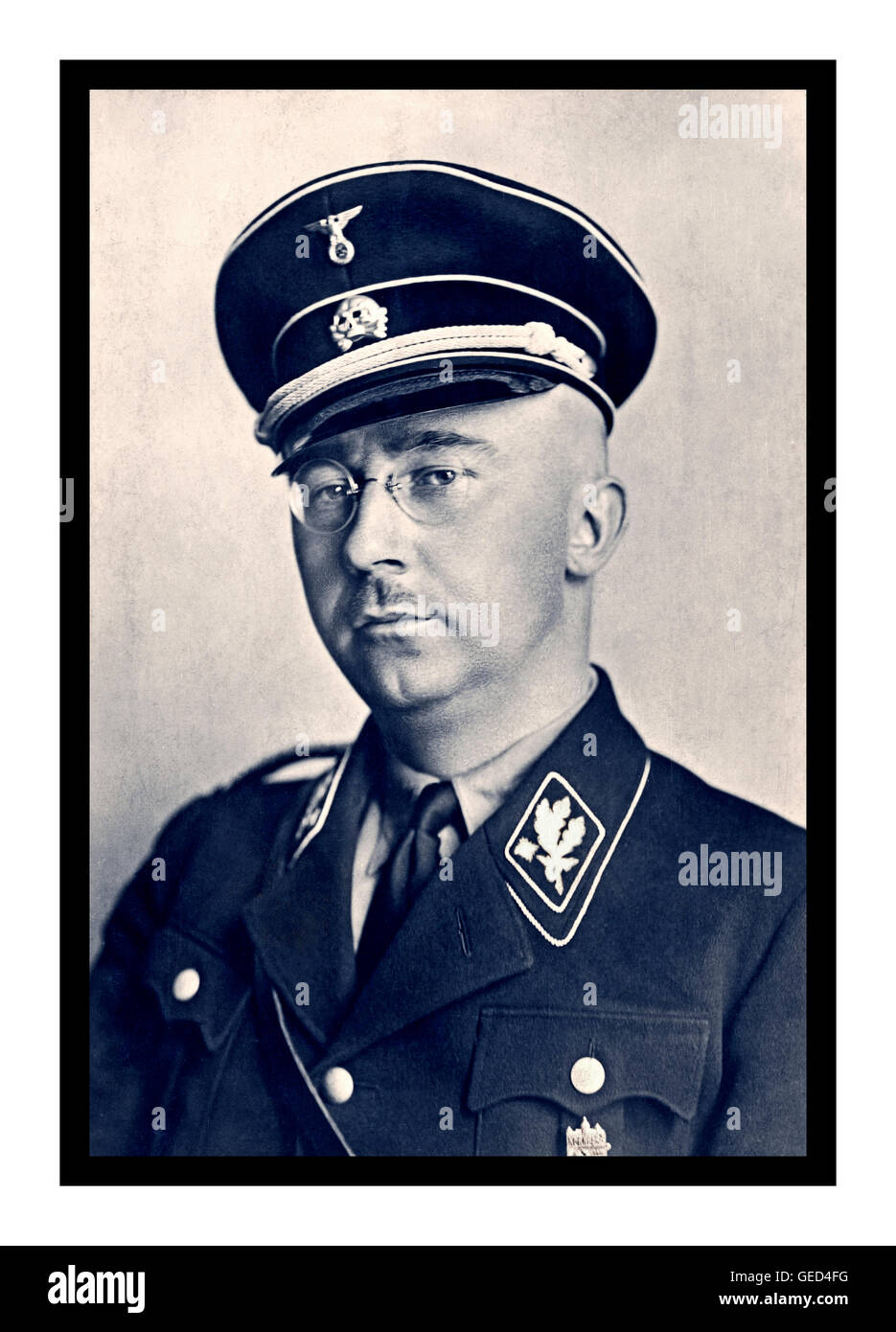 c06bf672de85f Heinrich Himmler formal portrait in Waffen SS uniform RGB B&W split-tone  German National Socialist