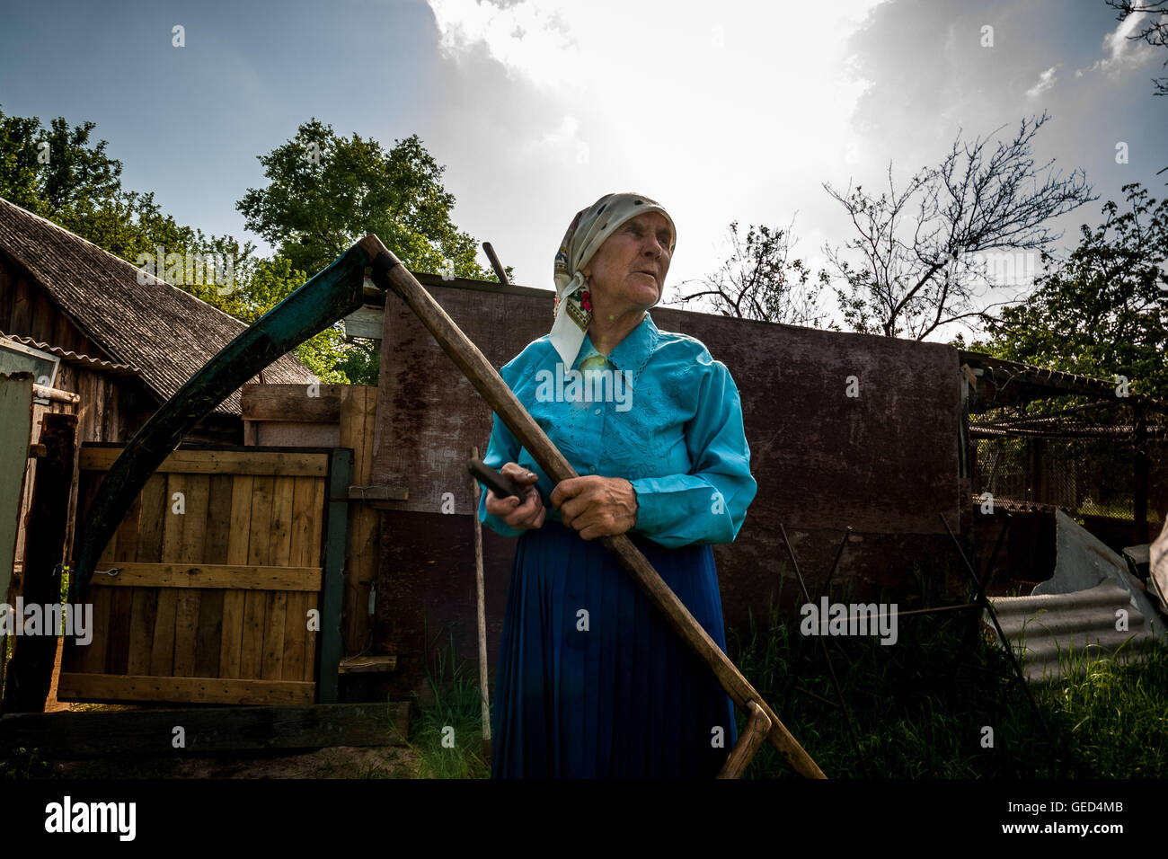 Hanna Zavorotnya is one of the residents who returned to her home in the radioactive zone shortly after the Chernobyl - Stock Image