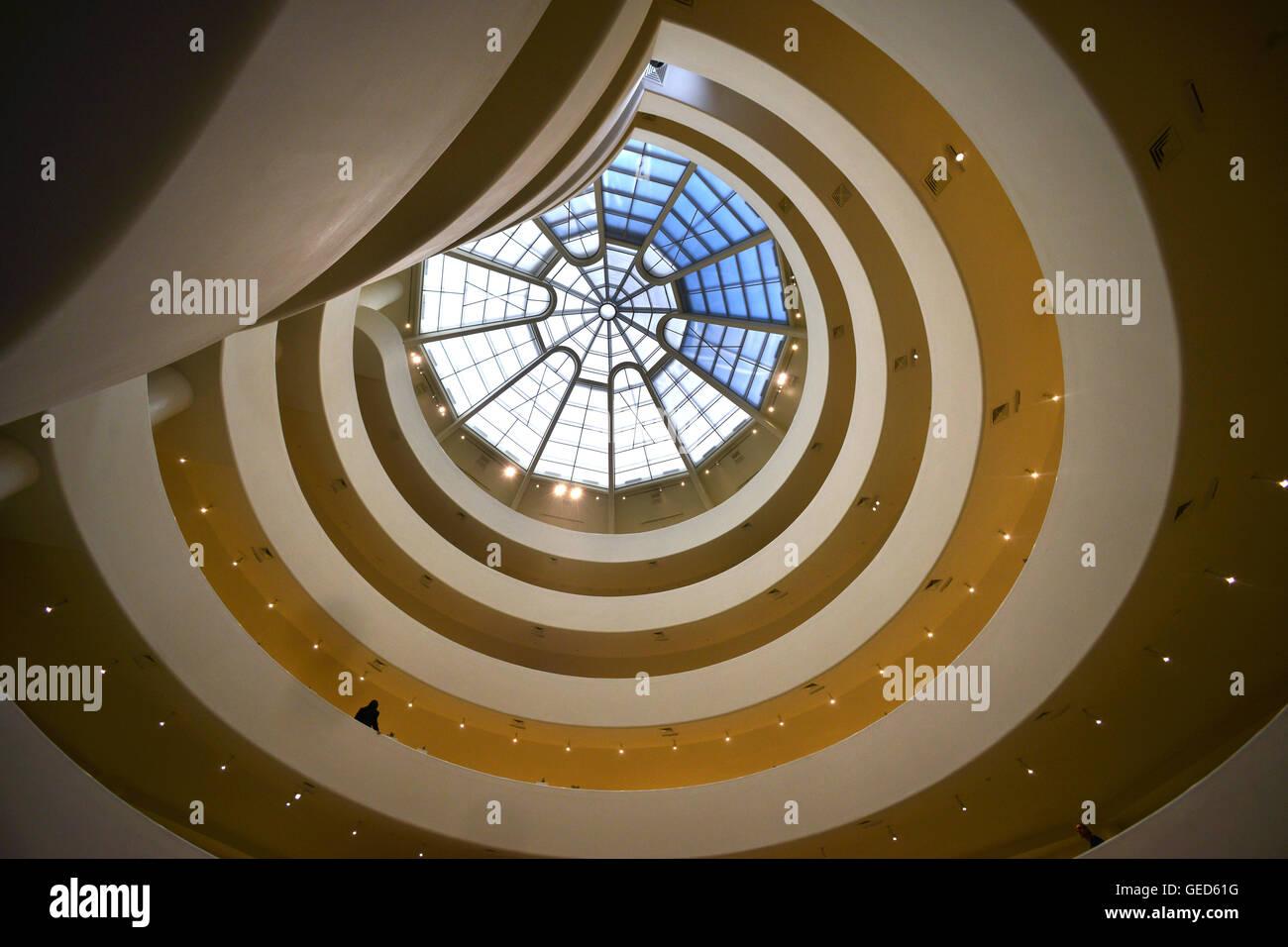 Interior of the Guggenheim museum, New York - Stock Image