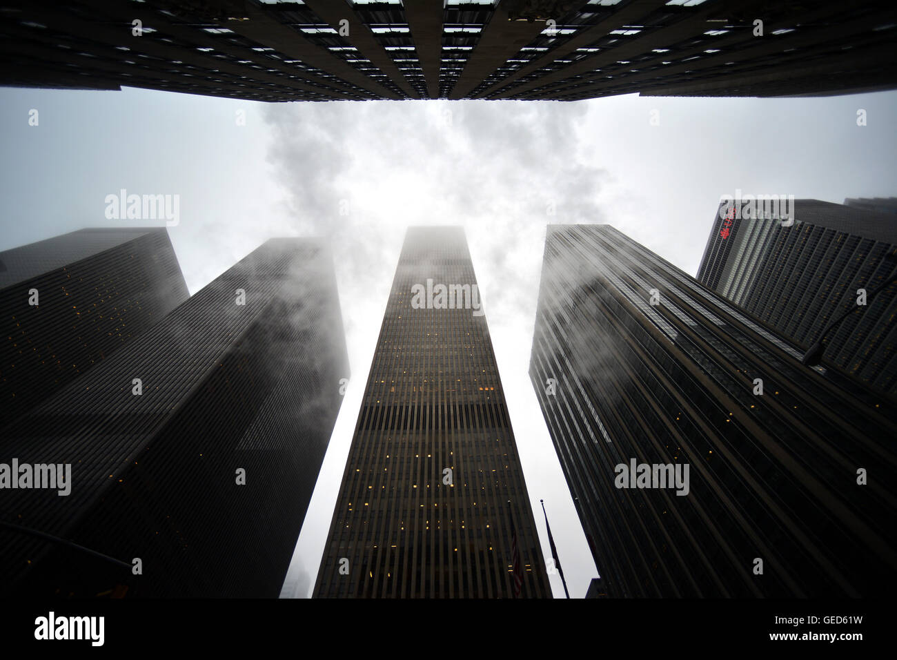 Bleak New York skyscrapers with winter steam - Stock Image