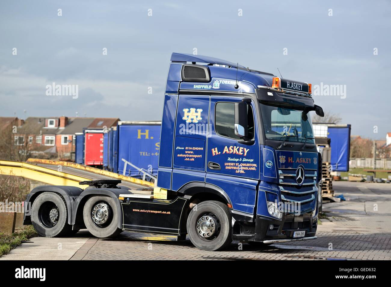 Mercedes Actros Tractor Unit Standing In A Haulage Yard In South