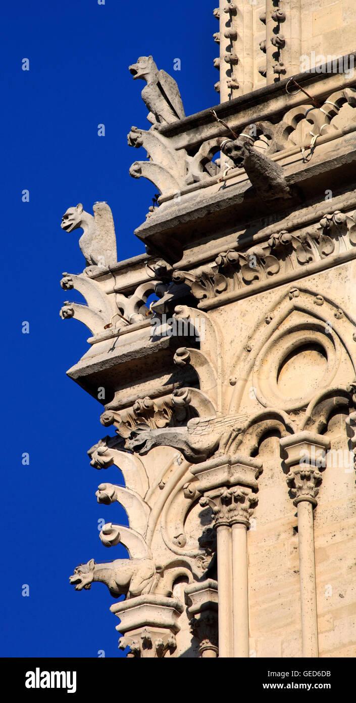 The Gargoyles or Chimeres of Notre Dame de Paris, Paris, France, Europe - Stock Image