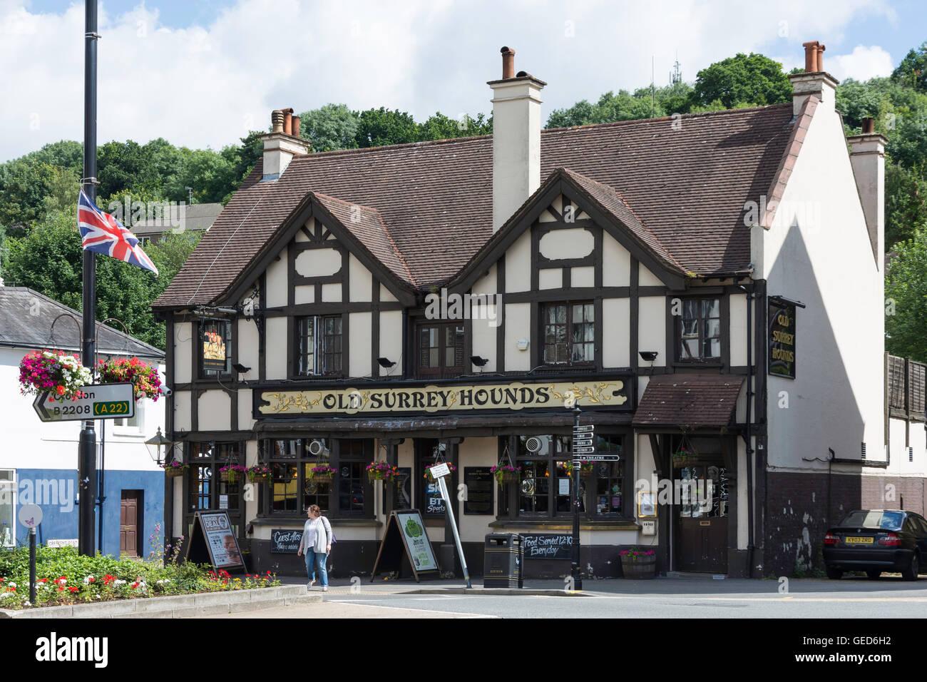 The Old Surrey Hounds Pub, The Square, Caterham, Surrey, England, United Kingdom - Stock Image