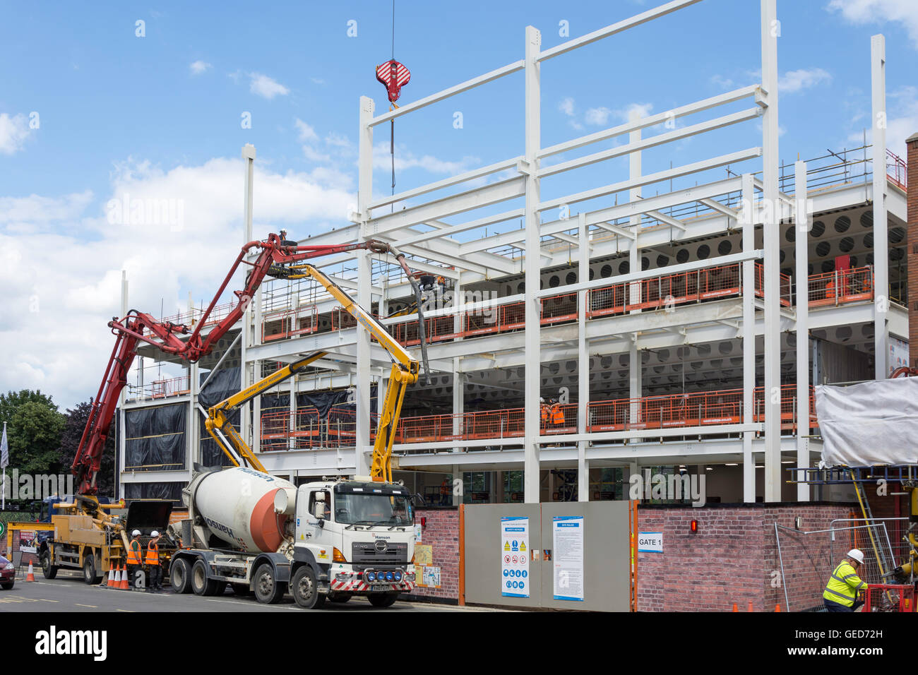 New Sainsburys Supermarket building extension under construction, London Road, Redhill, Surrey, England, United - Stock Image