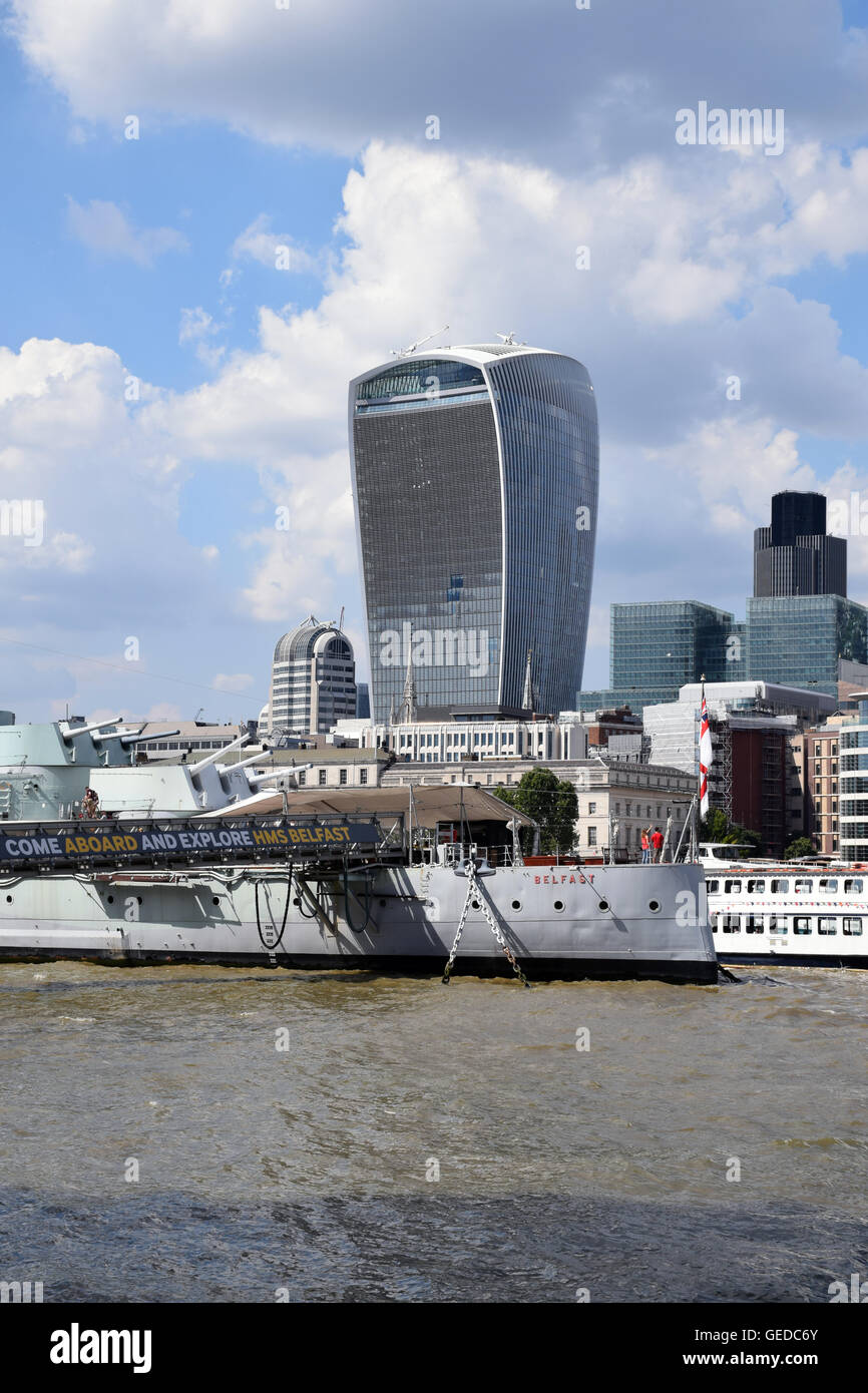 HMS Belfast & 20 Fenchurch Street aka The Walkie Talkie, London UK July 2016 - Stock Image