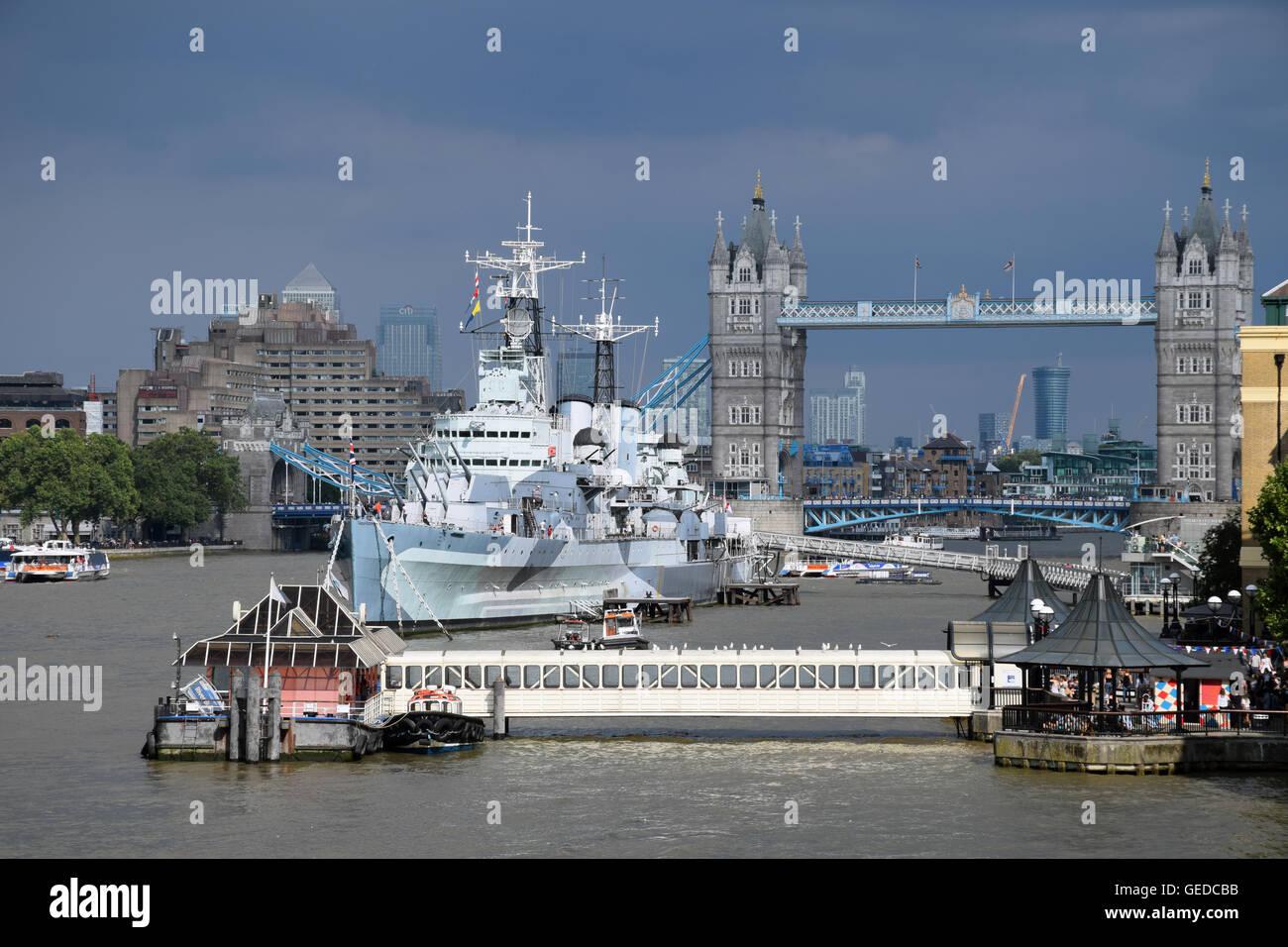 HMS Belfast & Tower Bridge, London UK July 2016 - Stock Image