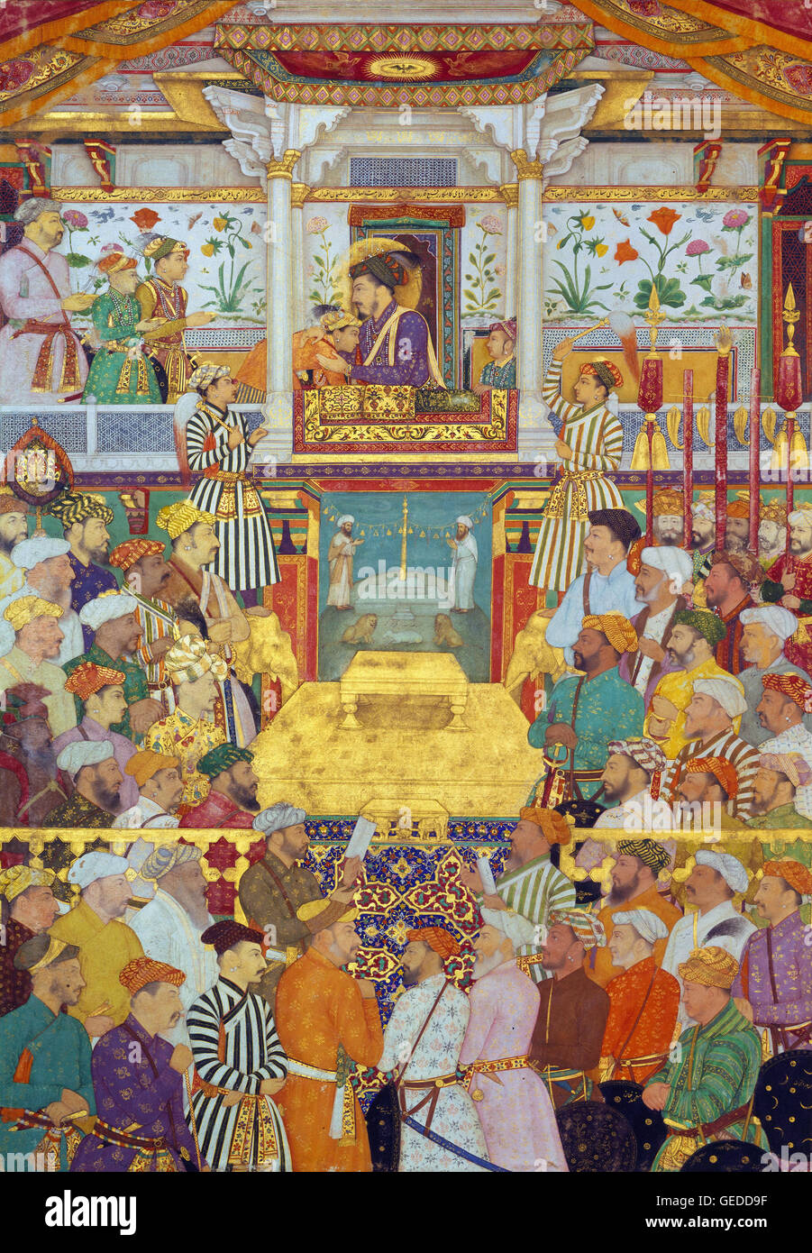 Bichitr - Padshahnama plate 10 - Shah-Jahan receives his three eldest sons and Asaf Khan Stock Photo