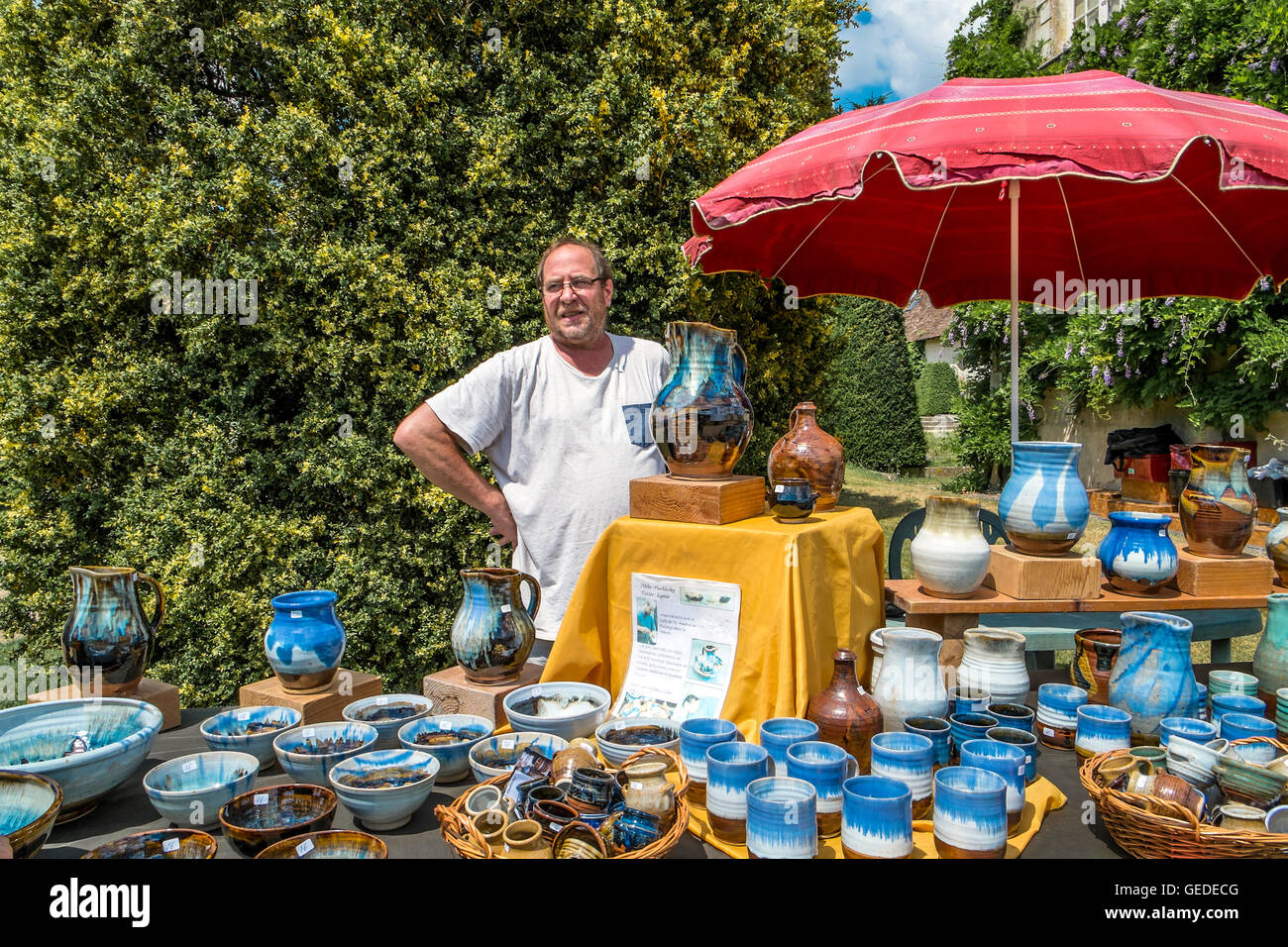 Potter Michael Hucklesby With His Pots At Artist And Craft Fair