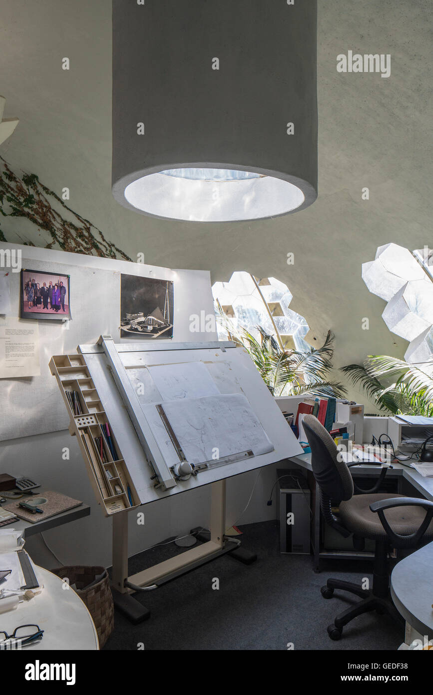 Desk, drawing board, office, architecture, roof light in dome upper level. Eco Dome, Peka Peka, New Zealand. Architect: Stock Photo